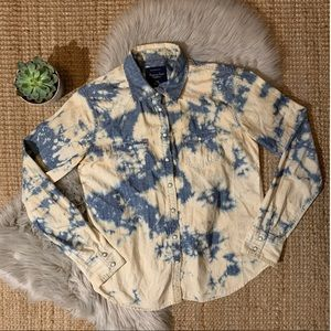 American Eagle Bleached Denim Button Up